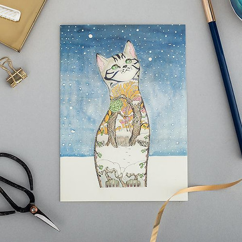 Athelhampton gift shop dorset cute animal greetings card and envelope cat in the snow Christmas