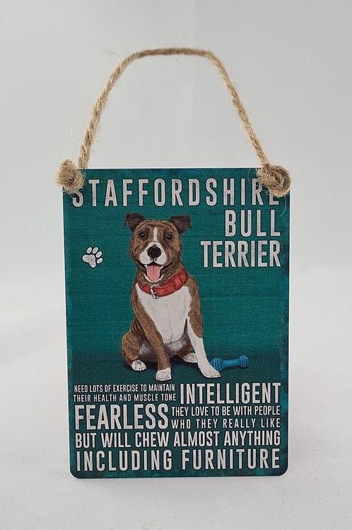 Athelhampton gift shop dorset door metal dangler small sign dog animals Staffordshire bull terrier