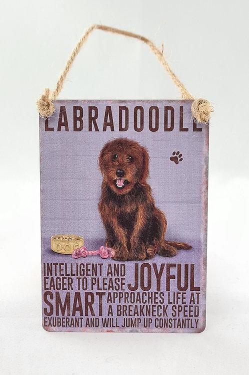 Athelhampton gift shop dorset door metal dangler small sign dog animals labradoodle