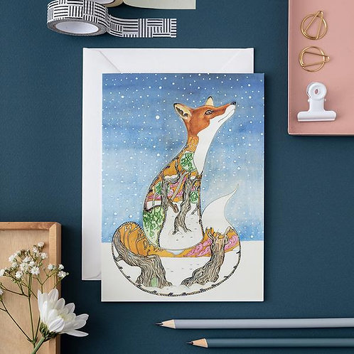 Athelhampton gift shop dorset cute animal greetings card and envelope fox in the snow Christmas