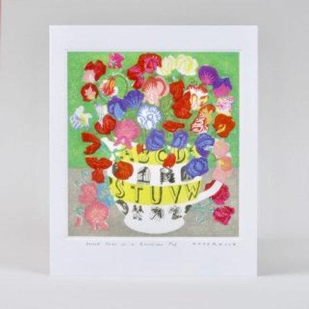 Athelhampton gift shop dorset greetings card and envelope sweet peas in a ravilious jug