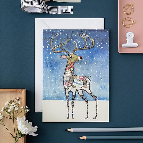 Athelhampton gift shop dorset cute animal greetings card and envelope Rudolph Christmas