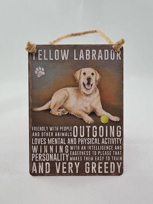 Athelhampton gift shop dorset door metal dangler small sign dog animals yellow labrador