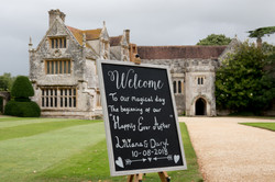 Welcome sign at the entrance of Athelhampton