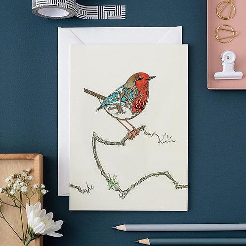 Athelhampton gift shop dorset cute animal greetings card and envelope robin card