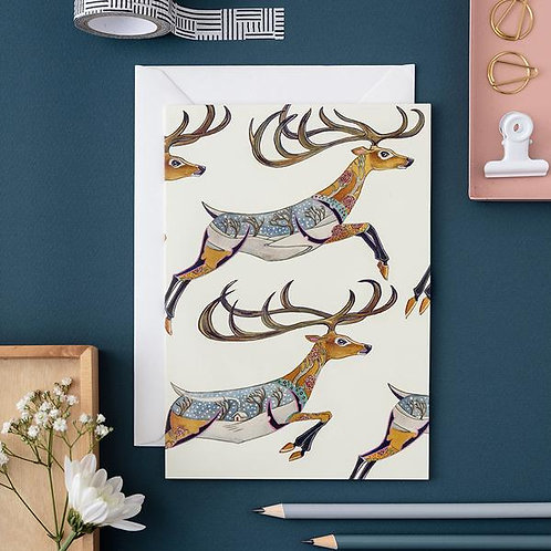 Athelhampton gift shop dorset cute animal greetings card and envelope leaping reindeer Christmas