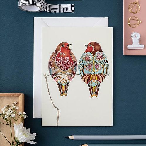 Athelhampton gift shop dorset cute animal greetings card and envelope two robins
