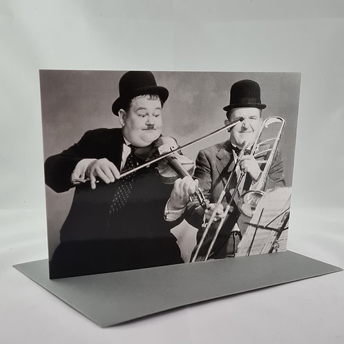 Athelhampton gift shop dorset greetings card and envelope laurel and hardy playing the fool 1920's