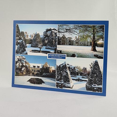 Athelhampton gift shop dorset postcard snow winter