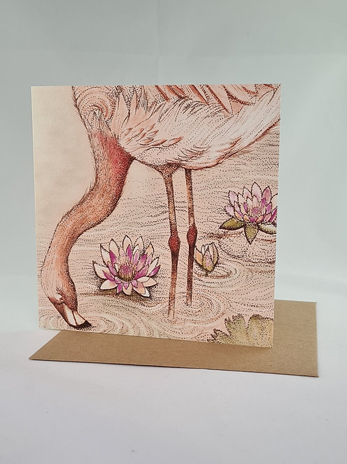 Athelhampton gift shop dorset greetings card and envelope flamingo