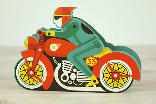 Athelhampton gift shop dorset greetings card and envelope pop up 3D motorbike
