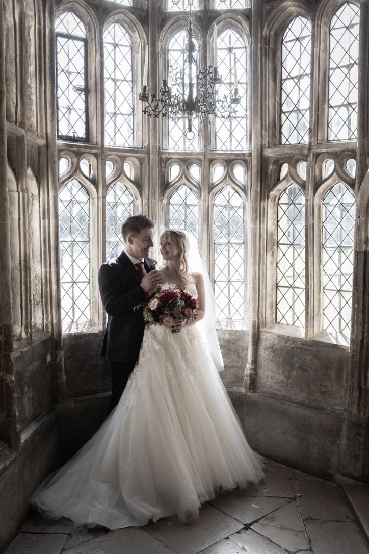 A wedding couple at Athelhampton