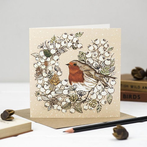 Athelhampton gift shop dorset greetings card and envelope robin and wreath Christmas