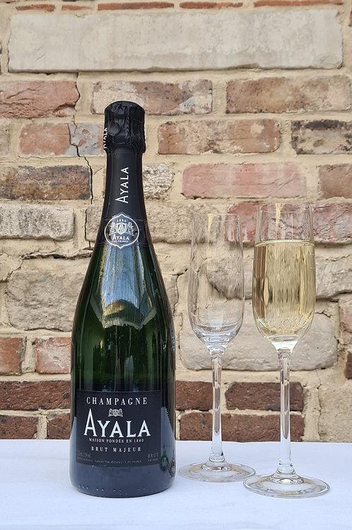 Athelhampton gift shop wine cellar glass bottle champagne ayala brut majeur NV fizz