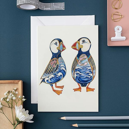 Athelhampton gift shop dorset cute animal greetings card and envelope two puffins