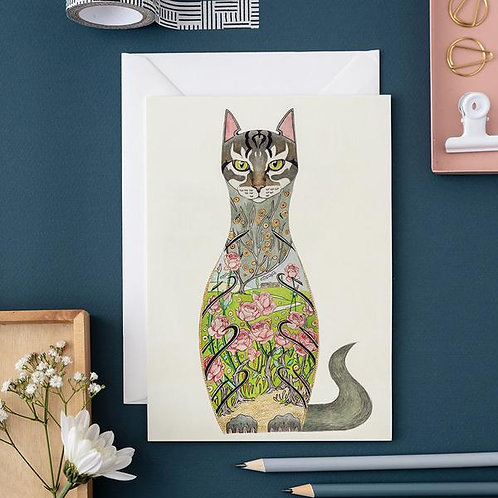Athelhampton gift shop dorset cute animal greetings card and envelope cat in the rose garden