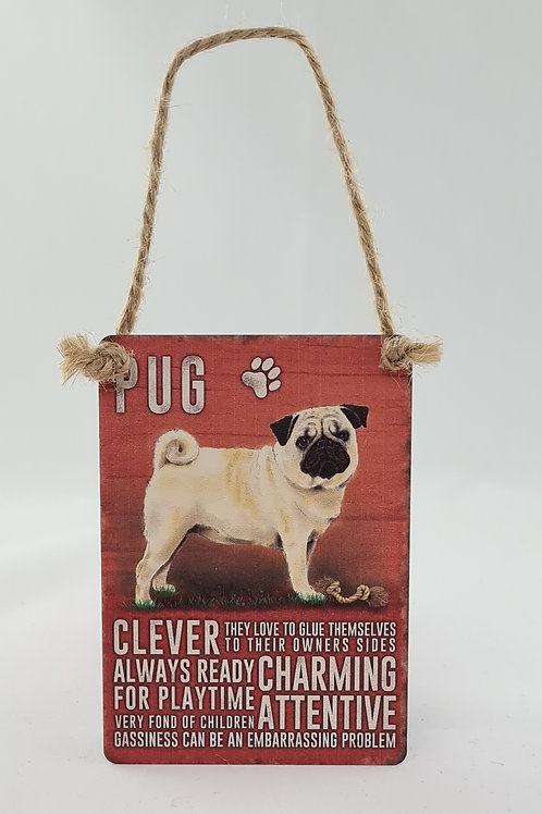 Athelhampton gift shop dorset door metal dangler small sign dog animals pug