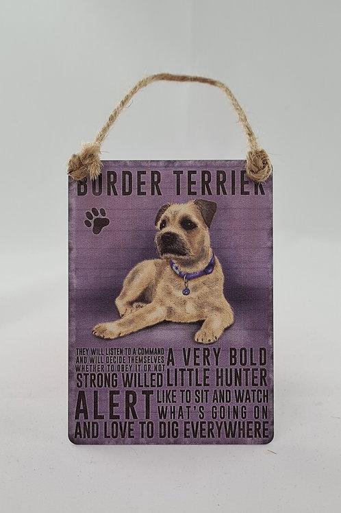 Athelhampton gift shop dorset door metal dangler small sign dog animals border terrier