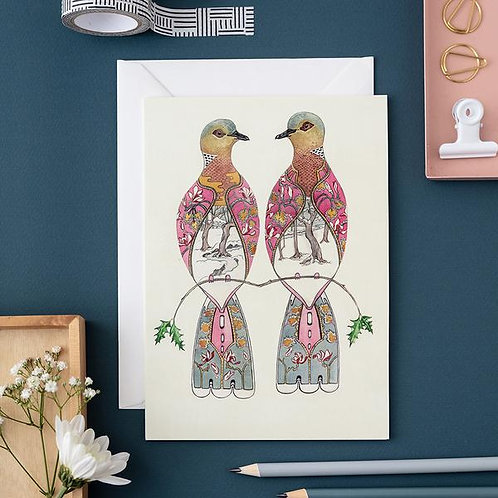 Athelhampton gift shop dorset cute animal greetings card and envelope two turtle doves Christmas