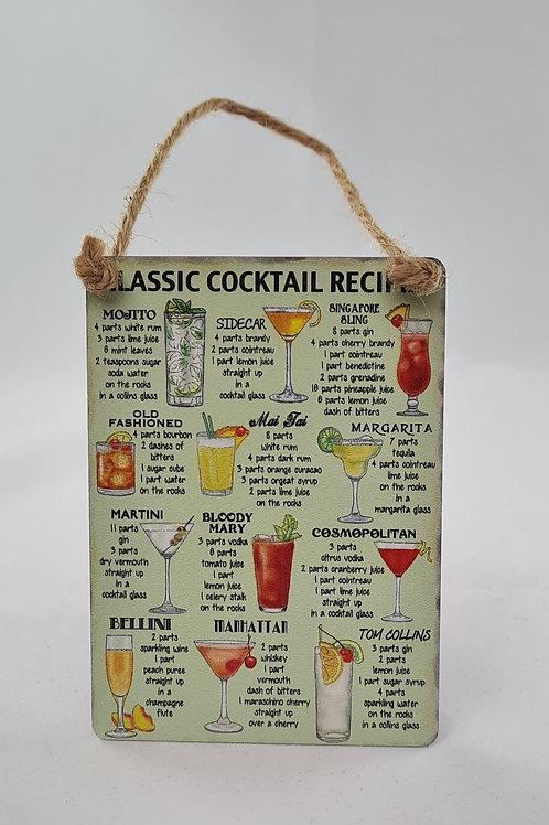 Athelhampton gift shop dorset door metal dangler small sign humour classic cocktail recipes
