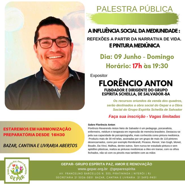 """Palestra Pública""""A influência social da mediunidade e realizará Pintura Mediúnica"""""""