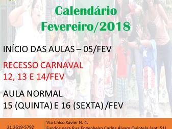 CALENDÁRIO - FEVEREIRO