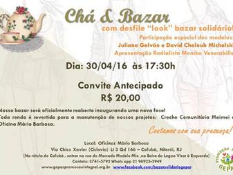 """Chá & Bazar com desfile """"look"""" bazar solidário!"""