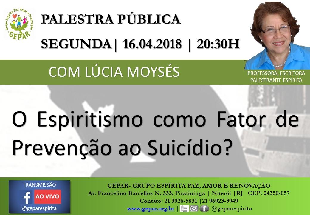PALESTRA PÚBLICA COM LÚCIA MOYSÉS 16/04 ÀS 20:30 NO GEPAR  LINK: https://www.facebook.com/events/206926393402882/