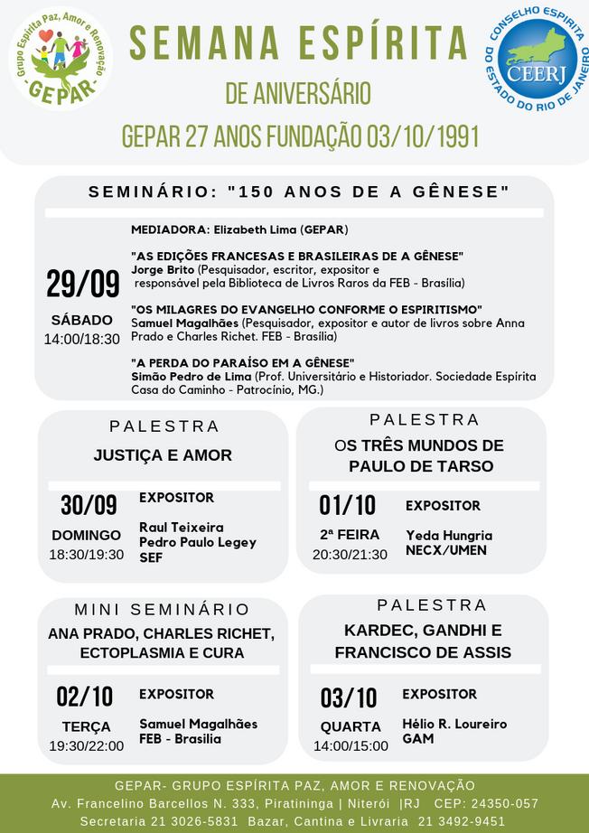 SEMANA ESPÍRITA DE ANIVERSÁRIO 27 ANOS GEPAR