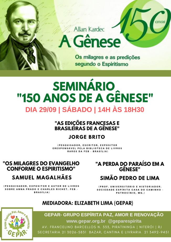 """SEMINÁRIO """"150 ANOS DE A GÊNESE"""""""