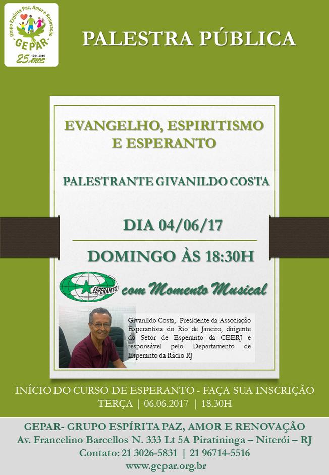 PALESTRA | EVANGELHO, ESPIRITISMO  E ESPERANTO