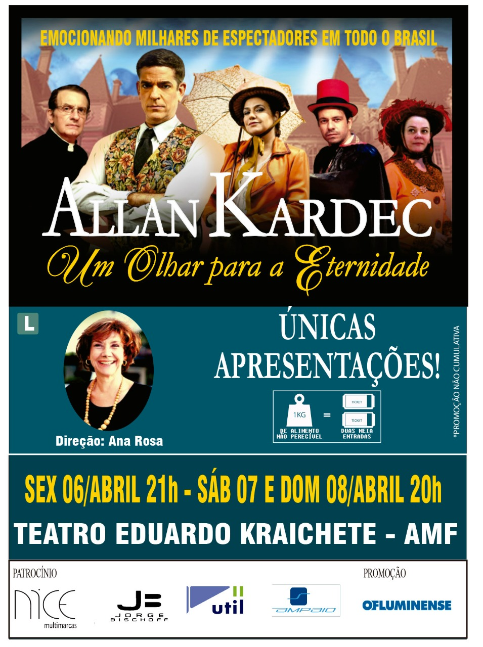 De volta em Niterói somente neste final de semana, a peça sobre Kardec!  Teatro Eduardo Kraichete  Dias 06, 07 e 08 de abril  Horários: sexta às 21h / sábado e domingo às 20h  Valor do ingresso: R$ 60,00 (inteira) e R$ 30,00 (meia)   SEXTA:https://www.guicheweb.com.br/ingressos/7940 SABADO:https://www.guicheweb.com.br/ingressos/7942 DOMINGO:https://www.guicheweb.com.br/ingressos/7943