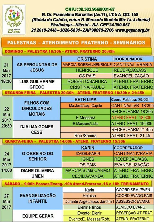 Palestra Pública 21/05 à 27/05