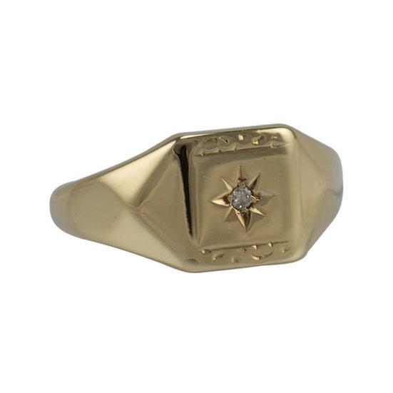 Vintage 9ct Diamond Set Signet Ring SOLD
