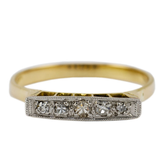 18ct & Platinum Five Stone Vintage