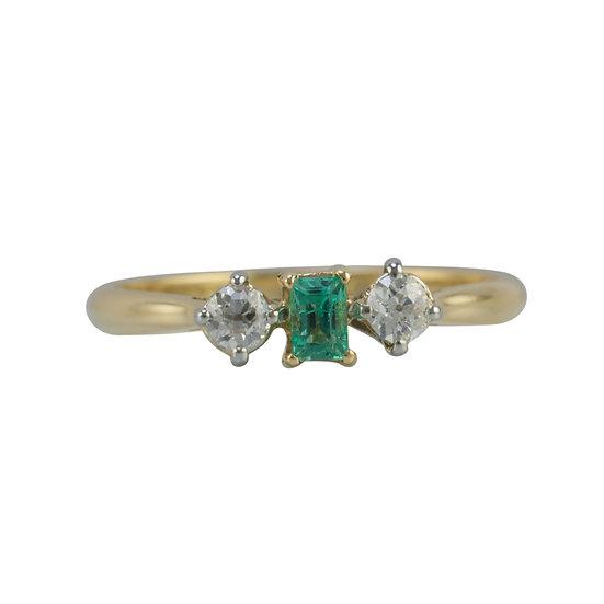 18ct & PLAT Emerald & Diamond Ring