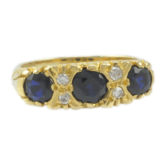 18ct Sapphire and Diamond carved ring - SOLD