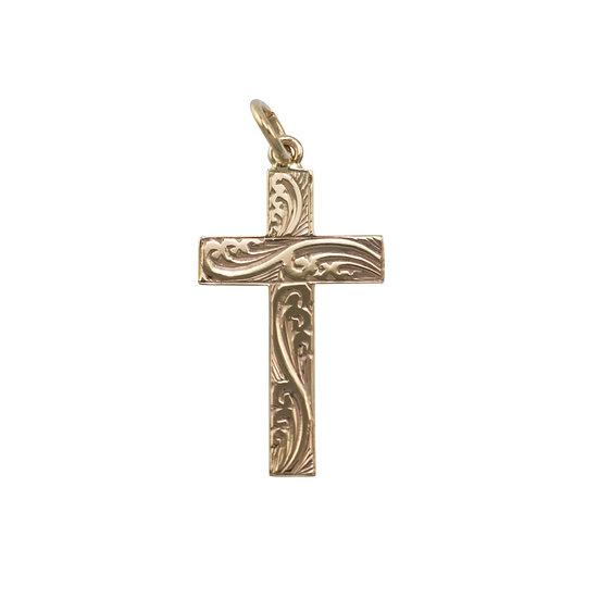 9ct Gold Hand Engraved Cross Pendant