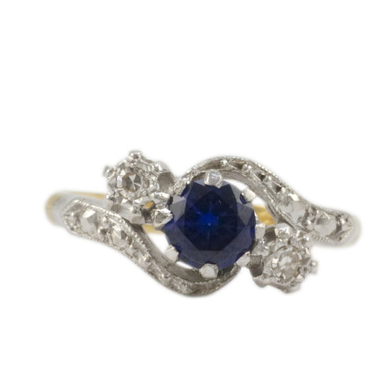 18ct Gold Synthetic Sapphire & Diamond Ring