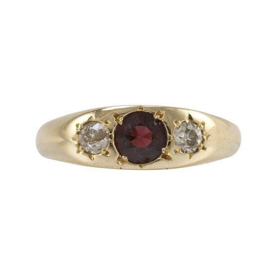 Garnet & Diamond Gypsy Ring