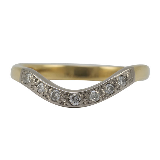 18ct Gold Diamond Set Curved Ring - SOLD
