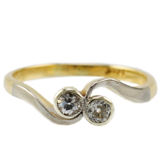 18ct & Plat Two Stone Diamond Ring