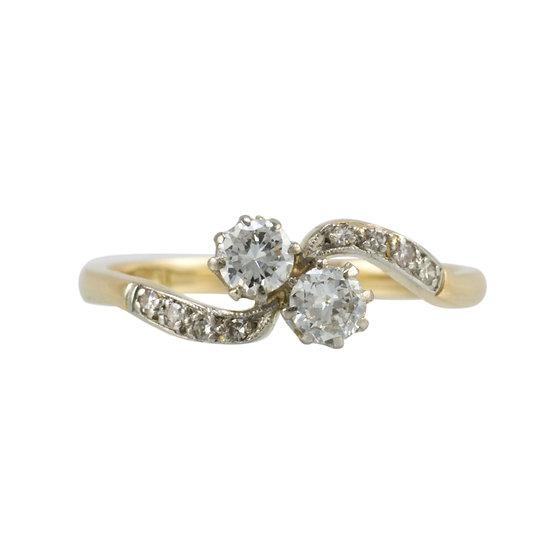 Vintage Two Stone Diamond Crossover