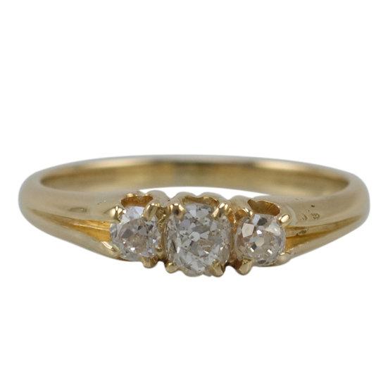 18ct Gold Antique Diamond Three Stone Ring