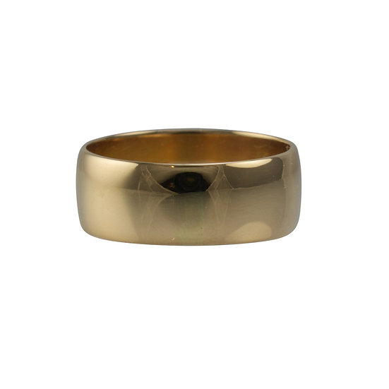 18ct Shallow D shaped Wedding Band
