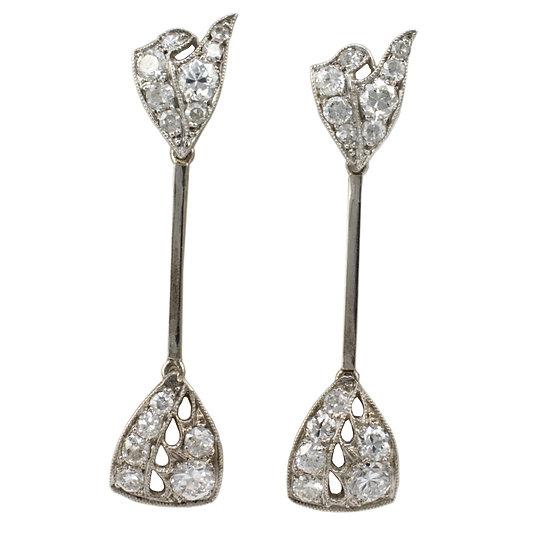 Platinum Art Deco Earrings