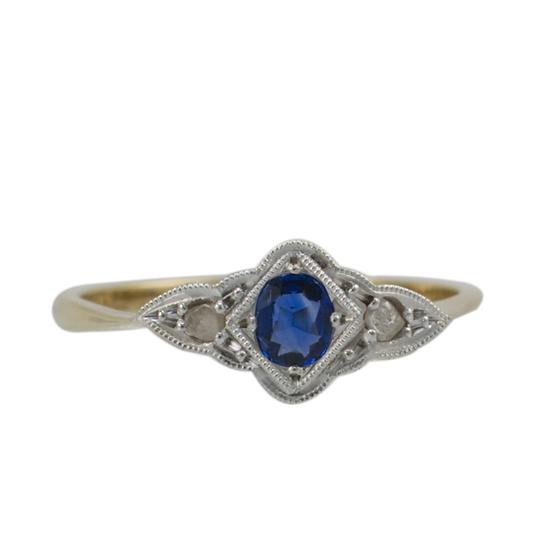 9ct & Platinum Sapphire & Diamond Vintage Ring - SOLD