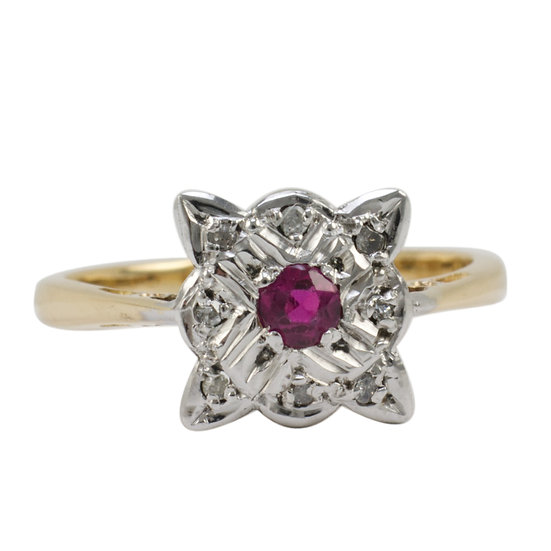 18ct & Platinum Ruby & Diamond Ring