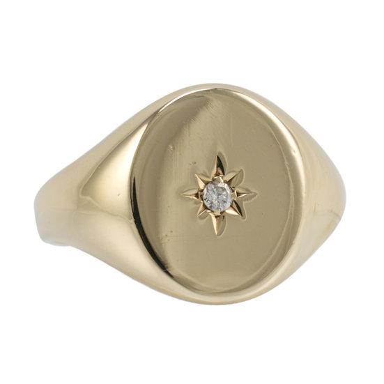 9ct Vintage Diamond Set Signet Ring - SOLD