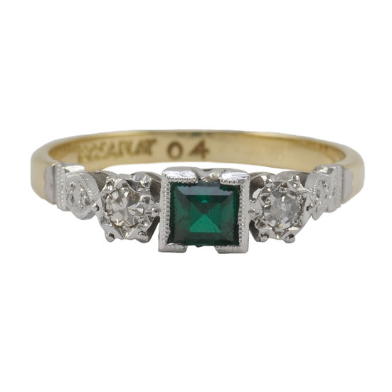 18ct & Platinum Green Synthetic Spinel Ring